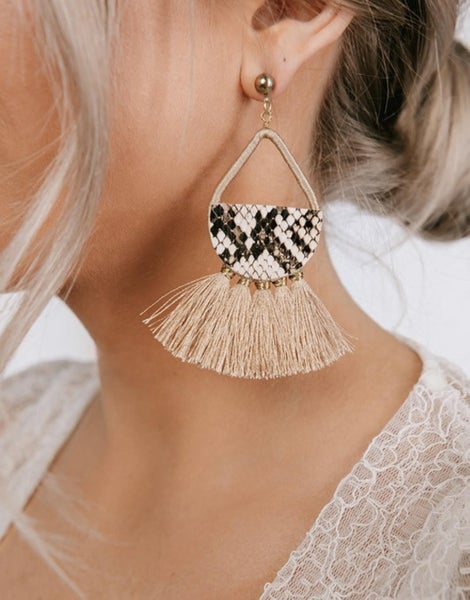 Leather Snakeskin Tassel Earrings