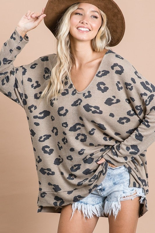 Animal Print Knit Jersey Top