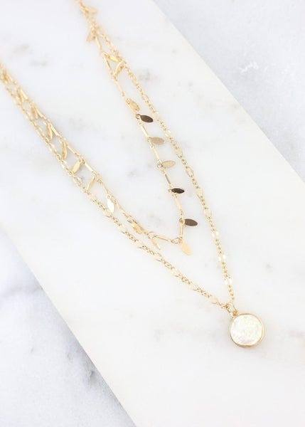 Gold Double Layered Necklace with Druzy Stone