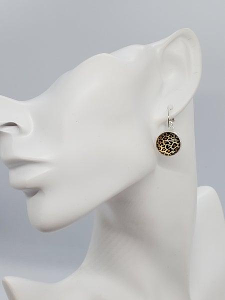 Cheetah Print Lever Back Earrings