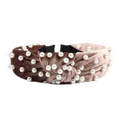Velvet Headband with Pearls
