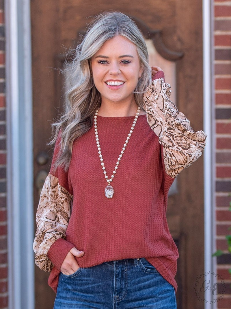 Waffle Knit with Snakeskin Sleeve Top