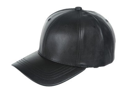 Faux Leather Six Panel Baseball Hat