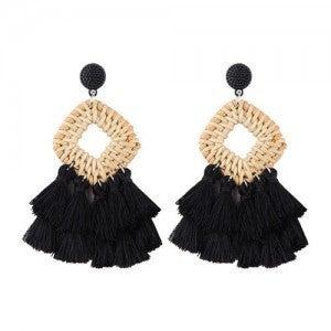 Bamboo Weaved Tassel Earrings