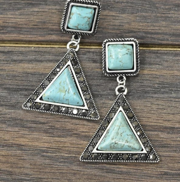 Triangle & Square Turquoise Earrings