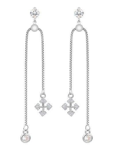 CZ Chain Drop Earrings