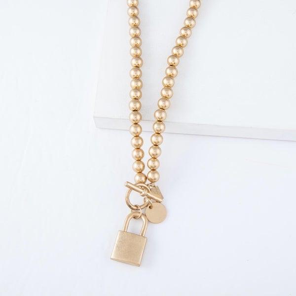 Toggle Bar Lock Pendant Necklace