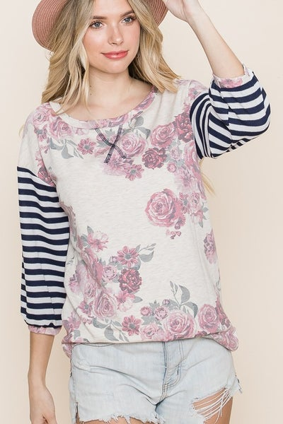 Floral Top with Knit Stripe Sleeve