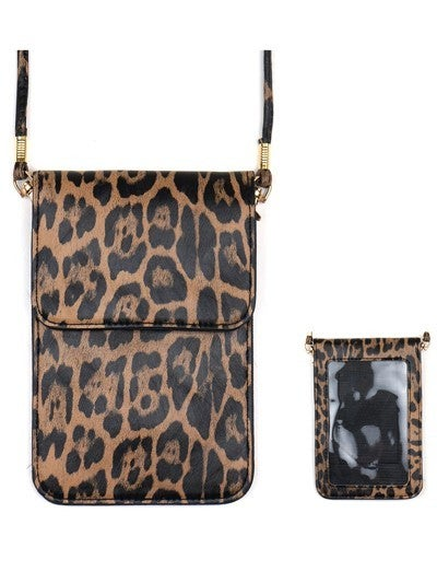 Leopard Cellphone Crossbody with Clear Window