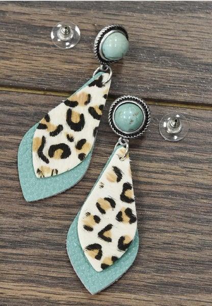 Animal Print & Natural Turquoise Post Earrings