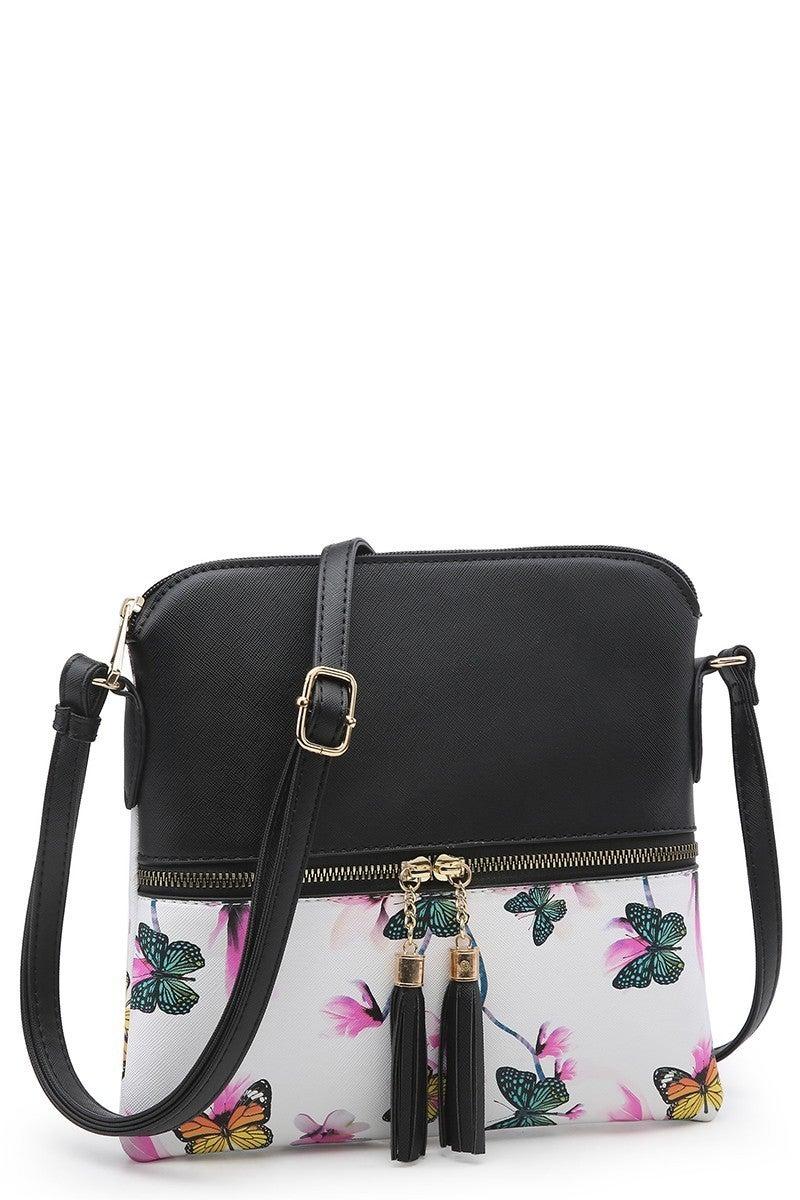 Floral Butterfly Tassel Crossbody Bag