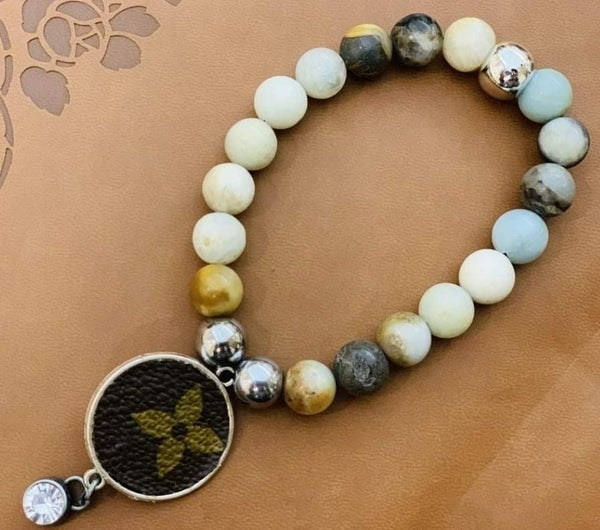 Agate Bead Upcycled LV Bracelet
