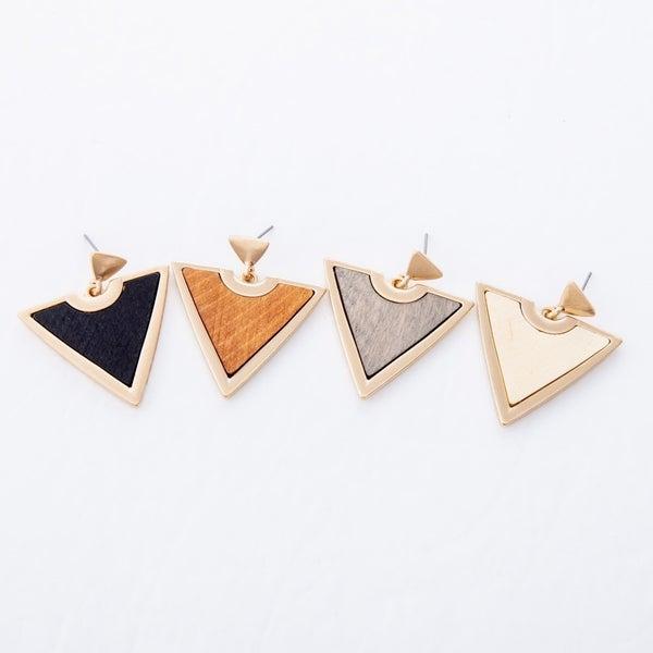 Wooden Triangle Pendant Earrings