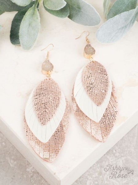 3 Tier Rose Gold Earrings with Druzy Stone