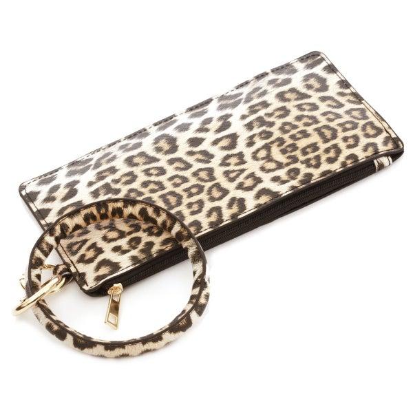 Leather Keychain Wallet CHEETAH