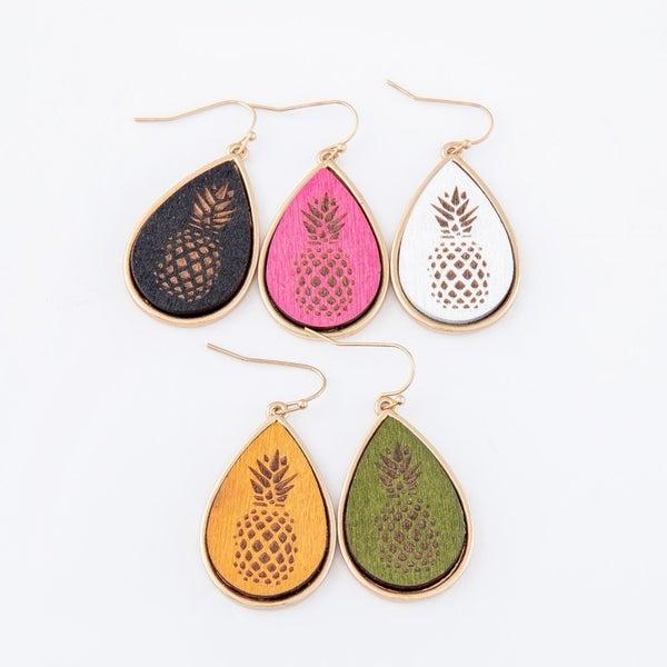 Wooden Pineapple Stamped Earrings
