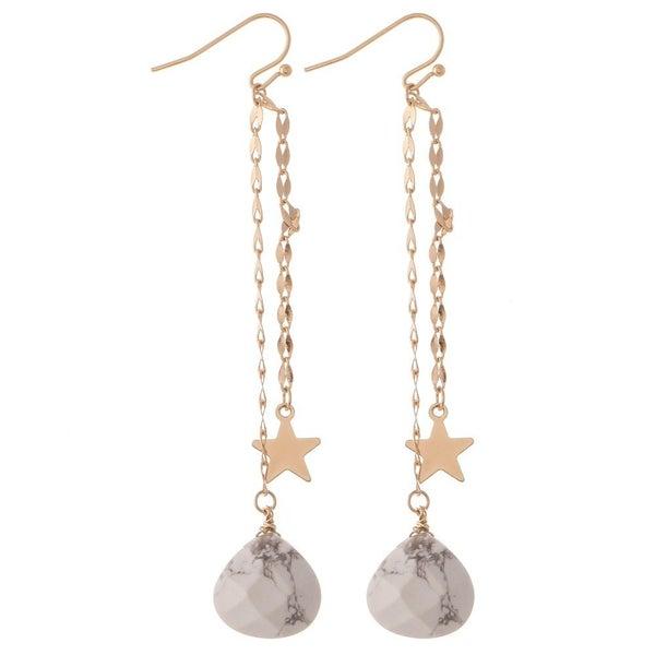Star & Stone Chain Drop Earrings