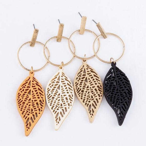 Wood  Leaf Laser Cut Earrings