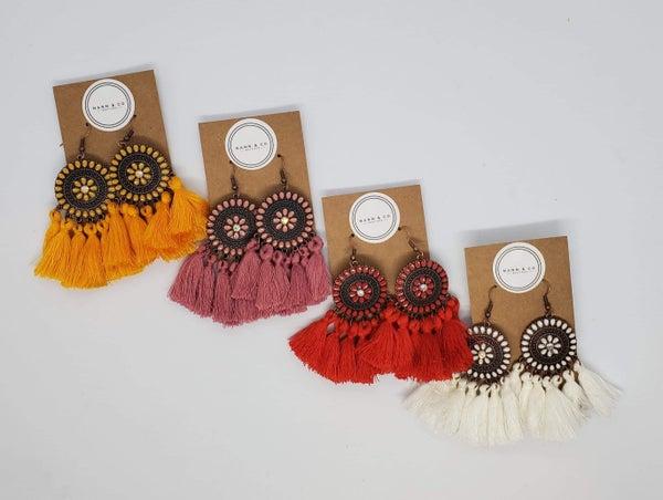 Medallion Fringe Earrings