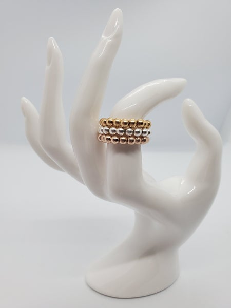 Gold, Rose Gold & Silver Bead Ring Set of 3 (brushed)