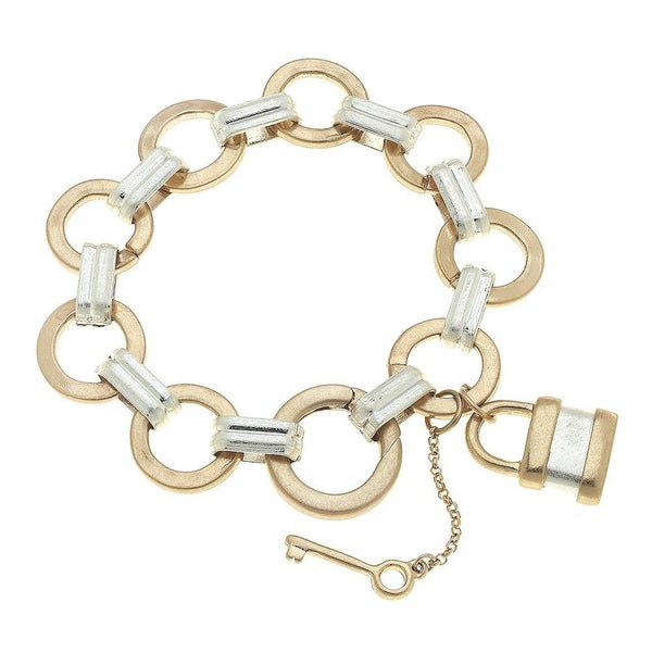 Two Tone Chain Link Lock & Key Charm Bracelet