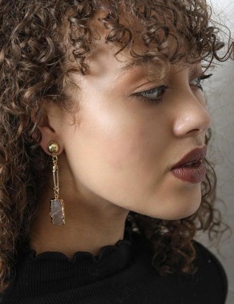 Gemstone Safety Pin Drop Earrings