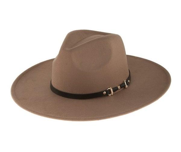 Buckle Wide Brim Fedora Hat