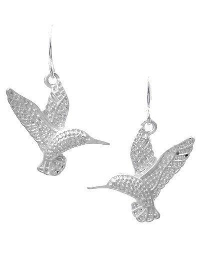 Matte Silver Hummingbird Earrings