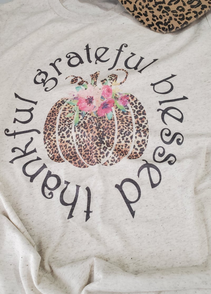 Grateful, Thankful, Blessed Oatmeal Colored Tee