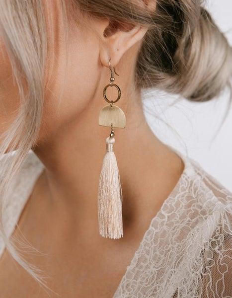 Peach Champagne Geometric Earrings