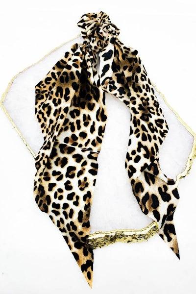 Leopard Print Hair Scrunchie Scarf
