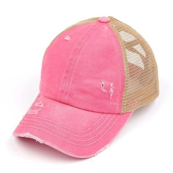 Distressed Criss Cross Ponytail Hat