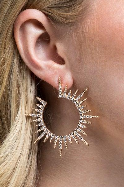 Pave Crystal Open Sun Earrings