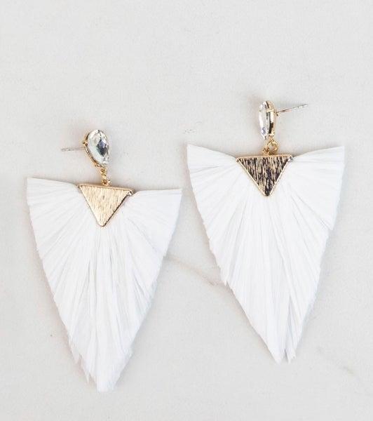 Rhinestone Raffia Earrings