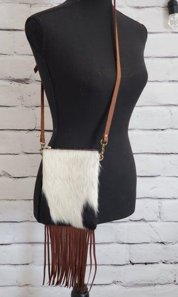 Genune Leather Animal Hide Bag (Black Spotted) SM