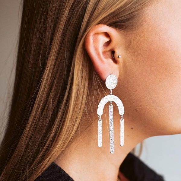Brushed Metal Arch Earrings