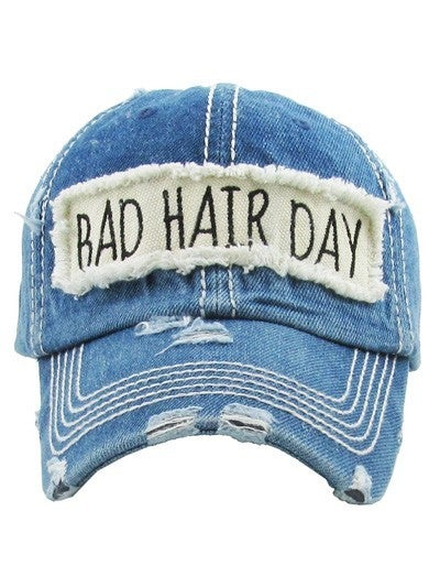 """Bad Hair Day"" Distressed Baseball Hat"