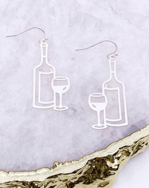 Wine Bottle & Glass Earrings