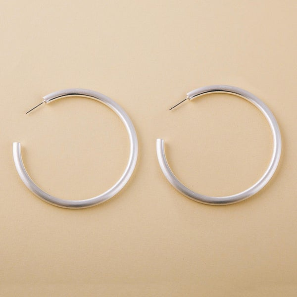 Thick Matte Large Silver Hoops