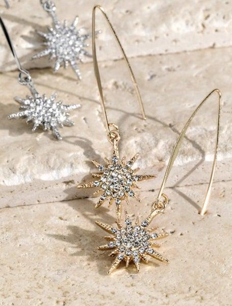 Pave Crystal Starburst Earrings