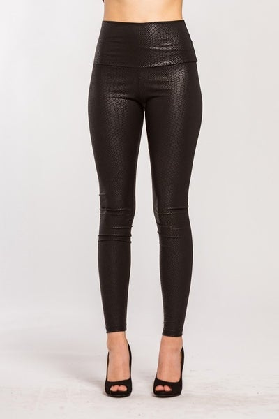 Embossed Snakeskin Faux Leather High Waist Leggings