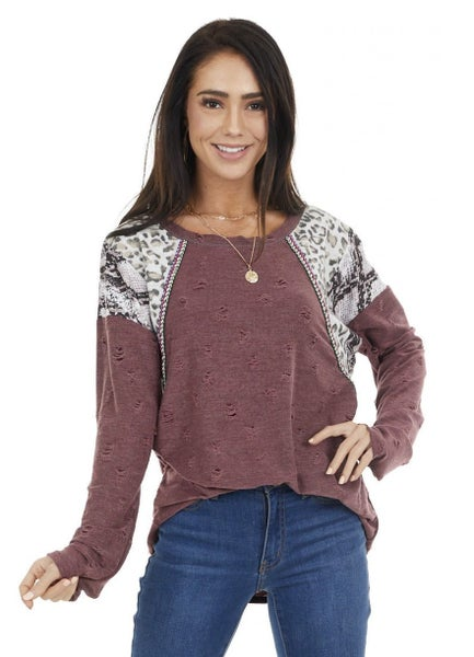 Distressed Knit Top with Color Block Detailing