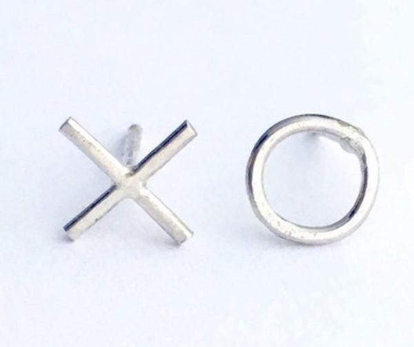 XO Silver Stud Earrings