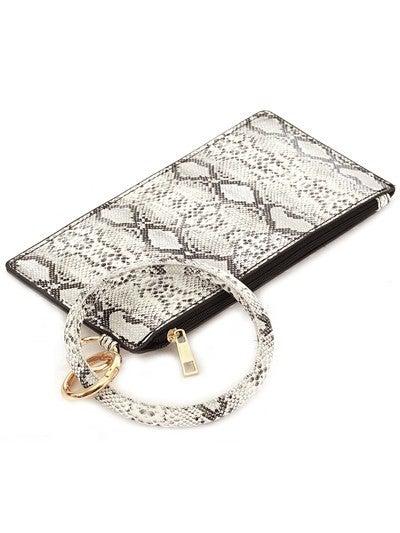 Leather Keychain Wallet SNAKESKIN