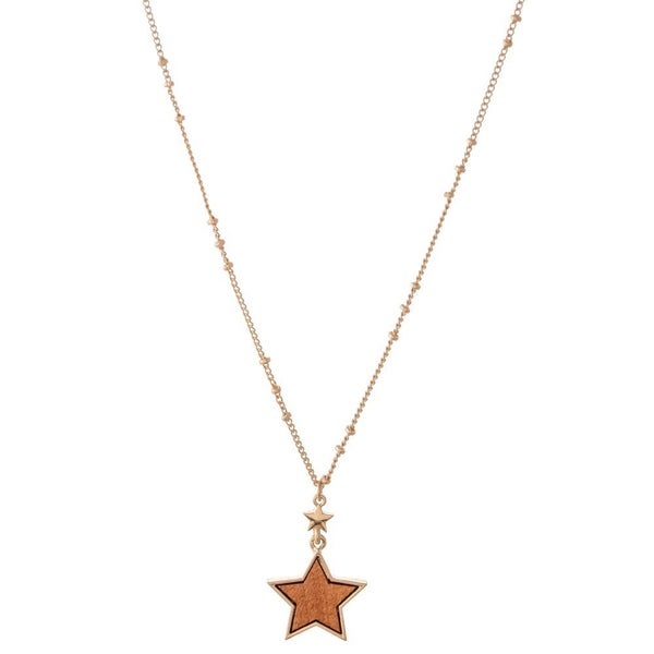 Wood Star Pendant Necklace