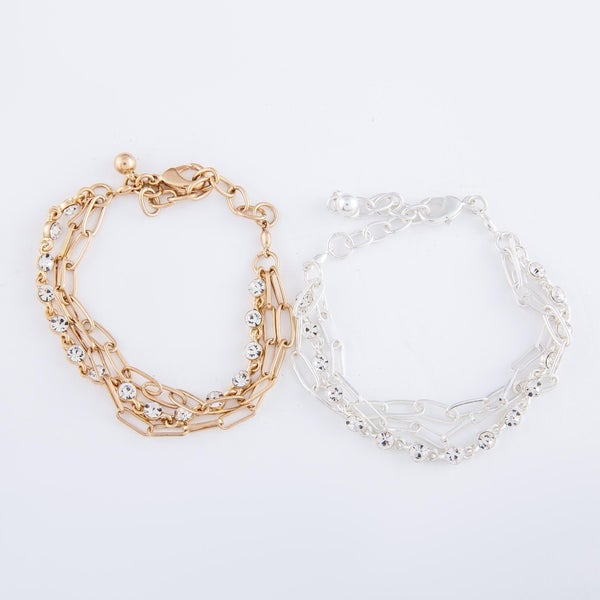 Crystal & Chain Link Bracelet Set