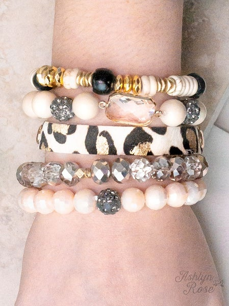Yours Truly Bracelet Set LEOPARD/CREAM