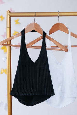 Key To Happiness Crop Halter Top