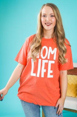 Mom Life Tee - Coral