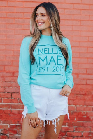Nellie Mae Logo Long Sleeve Tee - Mint